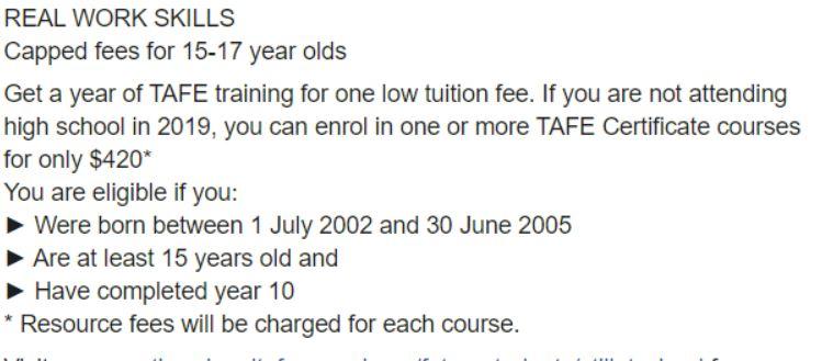 TAFE Fees 2020